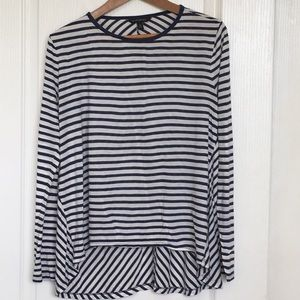 Banana Republic Navy and White Striped Long Sleeve